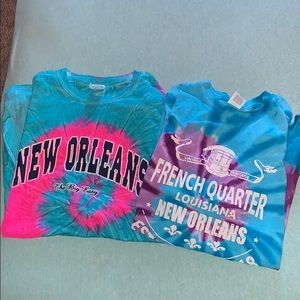 Lot of 2 New Orleans Tie Dye Shirts
